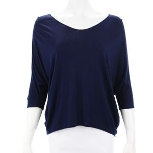 VINCE NAVY BLUE SHORT SLEEVED TOP SIZE XS